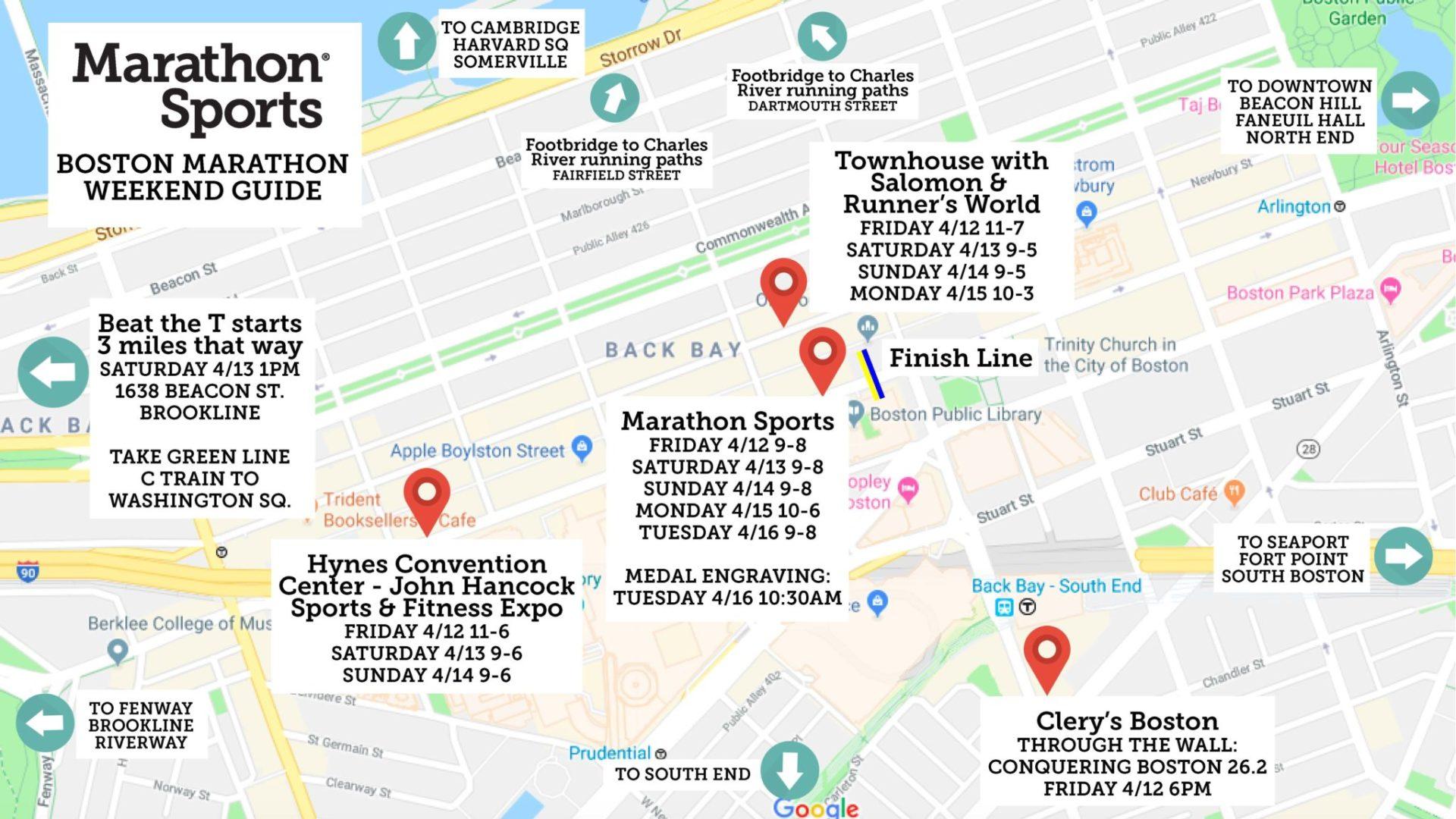 Boston Marathon weekend events map
