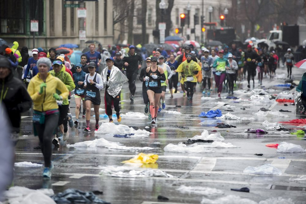 Boston Marathon rainy race day
